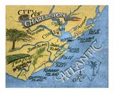 Zeke's Antique Signs - Charleston, South Carolina Beach Map Plakát