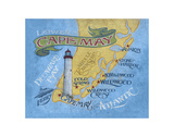 Cape May Beach Map Print by  Zeke's Antique Signs