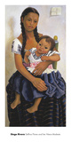 Delfina Flores and her Niece Modesta Prints by Diego Rivera