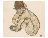 Crouching Nude Girl Prints by Egon Schiele