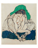 Crouching Woman with Green Headscarf Prints by Egon Schiele