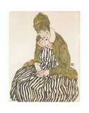 Edith with Striped Dress, Sitting, 1915 Prints by Egon Schiele