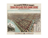 Elevated Trains in Chicago, c. 1897 Poster by  Poole Bros.
