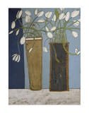 Elongated Vases with White Tulips Posters par Karen Tusinski