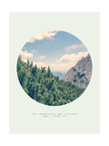 Inspirational Circle Design: The Mountains are Calling and I Must Go Giclee Print by  Anze Bizjan