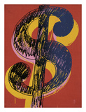 Dollar Sign, 1981 (black and yellow on red) Art by Andy Warhol