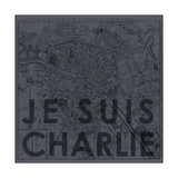Je Suis Charlie - Map of Paris, France Giclee Print