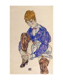 Portrait of the Artist's Wife Seated, Holding Her Right Leg Prints by Egon Schiele
