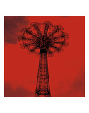 Red Parachute Jump Poster by Erin Clark