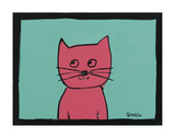 Pink Cat Print by Brian Nash