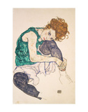 Seated Woman with Legs Drawn Up (Adele Herms), 1917 Prints by Egon Schiele