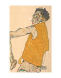 Self-Portrait in Yellow Vest, 1914 Art by Egon Schiele