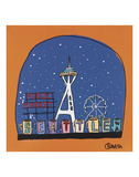Seattle Snow Globe Prints by Brian Nash