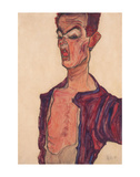 Self-Portrait, Grimacing Prints by Egon Schiele