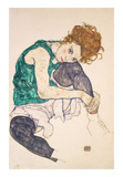 Seated Woman with Legs Drawn Up (Adele Herms), 1917 Plakaty autor Egon Schiele