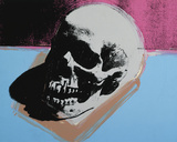 Skull, 1976 (white on blue and pink) Art by Andy Warhol