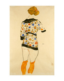 Standing Woman in a Patterned Blouse Print by Egon Schiele