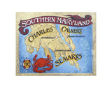 Southern Maryland Beach Map Prints by  Zeke's Antique Signs