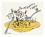 Spaghetti is So Slippery, c. 1958 Plakater af Andy Warhol