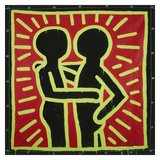 Untitled, 1982 (couple in black, red, and green) Print by Keith Haring