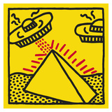 Untitled, 1984 (pyramid with UFOs) Posters by Keith Haring