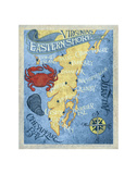 Virginia's Eastern Shore Beach Map Print by  Zeke's Antique Signs