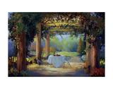 Vino al fresco Print by Carolyne Hawley