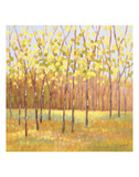 Yellow and Green Trees (center) Prints by Libby Smart