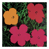 Flowers, 1964 (1 red, 1 yellow, 2 pink) Print by Andy Warhol