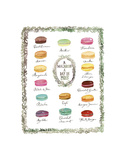 French Macaron Flavor Chart Prints by Lucile Prache