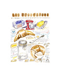 French Croissant Recipe Prints by Lucile Prache