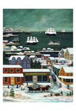 Winter in Nantucket Harbor Prints by Janet Munro