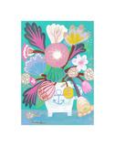 Flowers in a Sailor Jar Affiche par Mercedes Lagunas