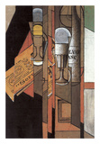 Glasses, Newspaper, and Bottle of Wine Poster by Juan Gris