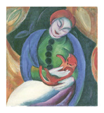 Girl with Cat II Prints by Franz Marc