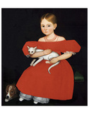 Girl in Red Dress with Cat and Dog, 1830-1835 Prints by Ammi Phillips