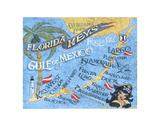 Florida Keys Beach Map Plakater af Zeke's Antique Signs