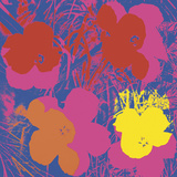 Flowers, 1970 (red, yellow, orange on blue) Posters by Andy Warhol