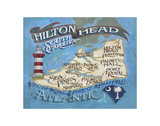Hilton Head Island Beach Map Prints by  Zeke's Antique Signs
