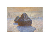 Haystacks: Snow Effect, 1891 Print by Claude Monet
