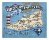 Hilton Head Island Beach Map Kunstdruck von  Zeke's Antique Signs