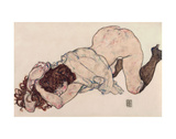 Kneeling Girl, Resting on Both Elbows Art by Egon Schiele