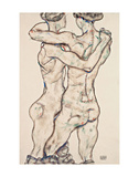 Naked Girls Embracing Prints by Egon Schiele