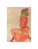 Kneeling Female in Orange-Red Dress, 1910 Prints by Egon Schiele