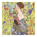 Mujer con abanico Lámina por Gustav Klimt