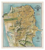 Map of San Francisco, California, 1912 Giclee Print by August Chevalier