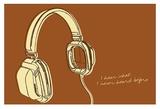 Lunastrella Headphones Poster by John W. Golden