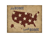 My Home Sweet Home USA Map Prints by  Sparx Studio