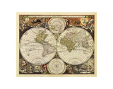 New World Map, 17th Century Prints by Nicholas Visscher