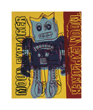 Moon Explorer Robot, 1983 (blue & yellow) Giclee Print by Andy Warhol
